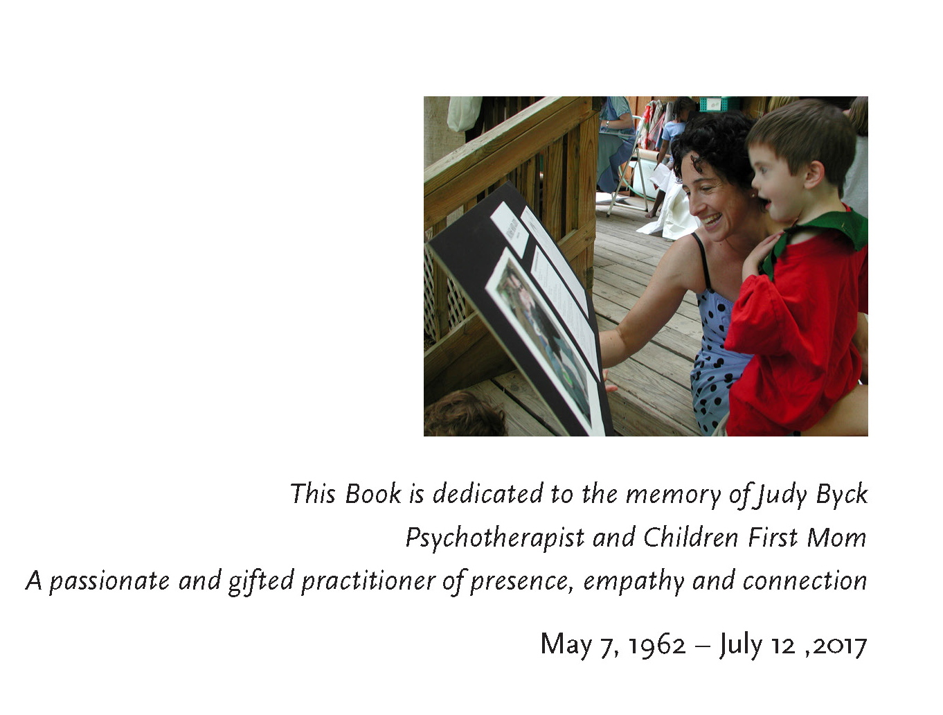 Dedication for Judy's Book close up